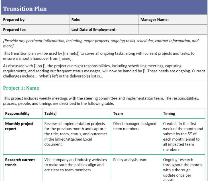 transition plan screen shot